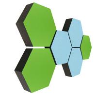 6 Absorber Wabenform Colore 3x HELLGRÜN + 3x LIGHTBLUE / je 300 x 300 x 70mm