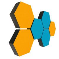 6 Absorber Wabenform Colore 3x TÜRKIS + 3x SONNENGELB / je 300 x 300 x 70mm