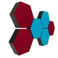 6 Absorber Wabenform Colore 3x TÜRKIS + 3x BORDEAUX / je 300 x 300 x 70mm