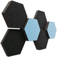 6 Absorber Wabenform Colore ANTHRAZIT + LIGHTBLUE / je 2 Stück 300 x 300 x 30/50/70mm