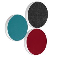 3x Basotect ® G+ / Ronde Kreis Durchmesser 550 mm / 50 mm dick (Bordeaux + Petrol + Anthrazit)