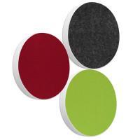 3x Basotect ® G+ / Ronde Kreis Durchmesser 550 mm / 50 mm dick (Bordeaux + Hellgrün + Anthrazit)