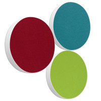3x Basotect ® G+ / Ronde Kreis Durchmesser 550 mm / 50 mm dick (Bordeaux + Hellgrün + Petrol)