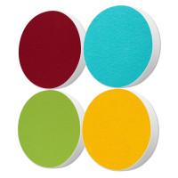4x Basotect ® G+ / Ronde Kreis Durchmesser 550 mm / 50 mm dick (Bordeaux + Hellgrün + Sonnengelb + Türkis)