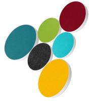 6x Basotect ® G+ / Ronde Kreis Ø55 cm + Kreis Ø40 cm Multicolore