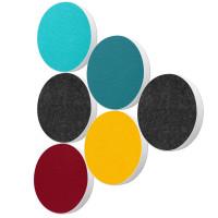 6 Basotect ® G+ Akustik Schallabsorber Kreis Multicolore-Set 02
