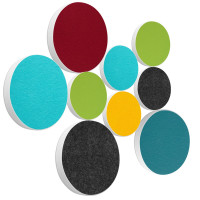 9x Basotect ® G+ / Ronde Kreis Ø55 cm + Kreis Ø 40 cm Multicolore