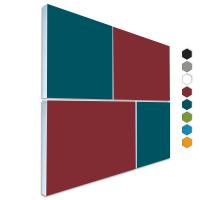 Basotect ® G+ Schallabsorber - 4 x Wandbild Akustik Element Schalldämmung (Bordeaux + Petrol)