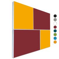 Basotect ® G+ Schallabsorber - 4 x Wandbild Akustik Element Schalldämmung (Bordeaux + Sonnengelb)