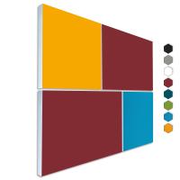 Basotect ® G+ Schallabsorber - 4 x Wandbild Akustik Element Schalldämmung (Bordeaux + Sonnengelb + Türkis)