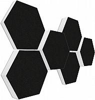 6 Schall Absorber Wabenform Basotect ® G+ Colore II SCHWARZ VLIES 3D-Set in 3 Stärken