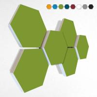 6 Schall Absorber Wabenform Basotect ® G+ Colore II HELLGRÜN VLIES 3D-Set in 3 Stärken