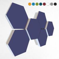 6 Schall Absorber Wabenform Basotect ® G+ Colore II NACHTBLAU VLIES 3D-Set in 3 Stärken