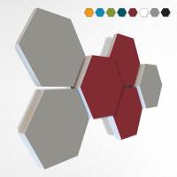6 Schall Absorber Wabenform Basotect ® G+ Colore II VLIES 3-D Mix-Set  in 3 Stärken - Nr.02