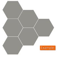 6 Schall Absorber Wabenform Basotect ® G+ Colore II GRANITGRAU VLIES 3D-Set in 3 Stärken
