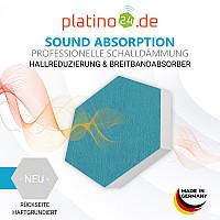 6 Absorber Wabenform Basotect ® G+ je 300 x 300 x 50mm Colore PETROL und NACHTBLAU