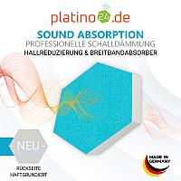 6 Absorber Wabenform aus Basotect ® G+ je 300 x 300 x 70mm Colore TÜRKIS