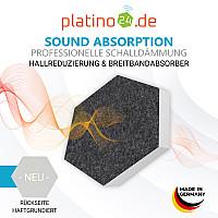 6 Absorber Wabenform aus Basotect ® G+ je 300 x 300 x 70mm Colore PETROL und ANTHRAZIT