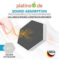 6 Absorber Wabenform aus Basotect ® G+ / Colore HELLGRÜN + TÜRKIS + GRANITGRAU/ je 2 Stück 30/50/70mm