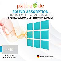 Wandbild Quadrate 9-tlg. Schalldämmung, TÜRKIS- Schallabsorber - Elemente aus Basotect ® G+