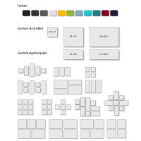 4 Schall Absorber Quadrate Basotect ® G+ Colore II Akustik Wandbild / Oberseite Akustikvlies TÜRKIS