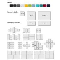 4 Schall Absorber Quadrate aus Basotect ® G+ / Colore II Akustik Wandbild / Oberseite Akustikvlies Set #04