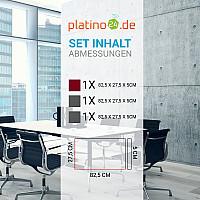 Schallabsorber-Set Colore aus Basotect G+ < 3 Elemente > Granitgrau+ Bordeaux